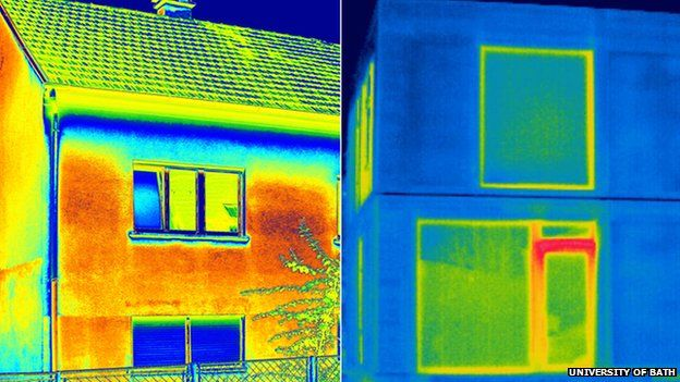 Thermal image of traditional brick and straw bale house (c) University of Bath/Modcell