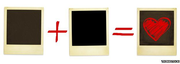 An equation that reads blank plus blank equals a heart