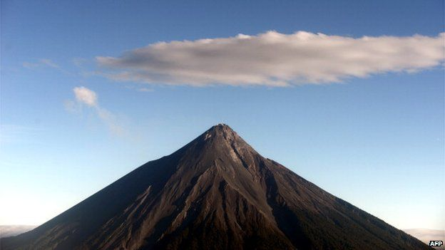 erial view of the Fuego volcano in the Escuintla departament, 80 km south of Guatemala City on November 29, 2013