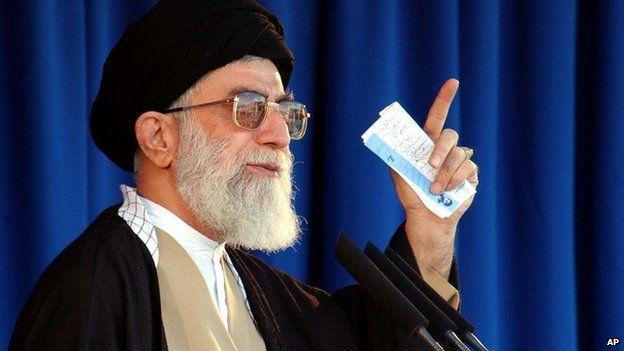 Iran's supreme leader Ayatollah Khamenei speaking at the Grand Mosque in Tehran in 2003