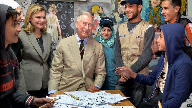 Prince Charles in a classroom at the Za'atri refugee camp, with International Development Secretary Justine Greening