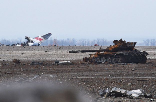 The ruined airport at Donetsk, 7 February