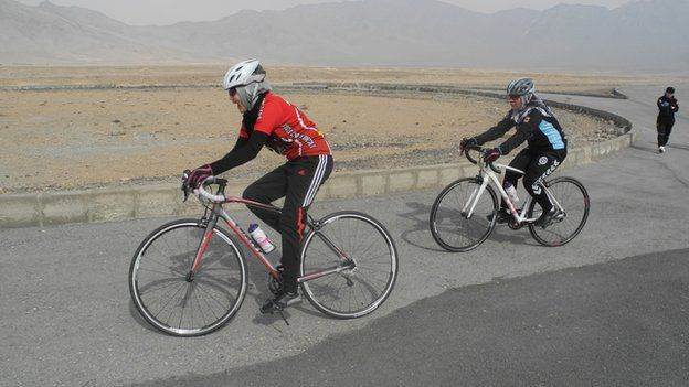 Women cycling in Afghanistan