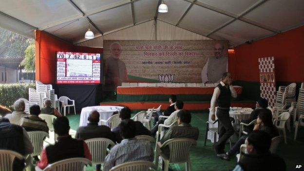 Members of India's leading Bharatiya Janata Party (BJP) watch the election result tally on a giant screen that shows their party leading in 7 and the upstart anti-corruption Aam Admi Party in 62 constituencies, at their party headquarters in New Delhi, India, Tuesday, Feb. 10, 2015.