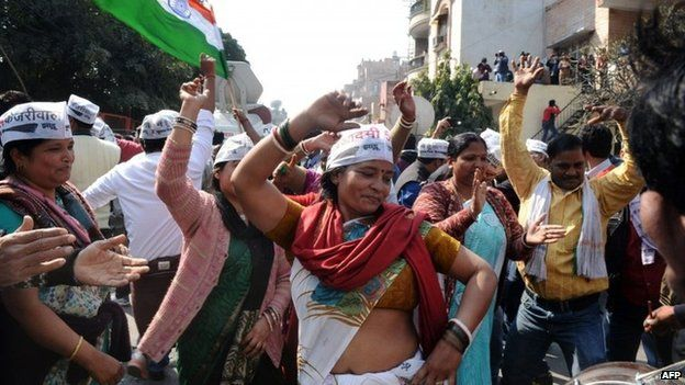 """Indian Aam Aadmi Party (AAP) supporters celebrate the AAP""""s victory in the state assembly elections outside the party""""s headquarters in New Delhi on February 10, 2015."""