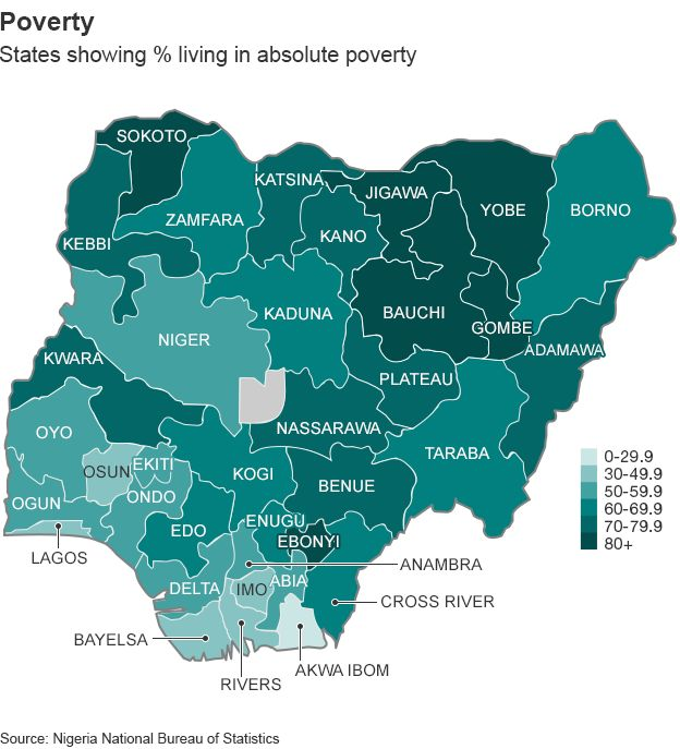 Nigeria elections mapping a nation divided bbc news map showing poverty rates in nigeria gumiabroncs Gallery