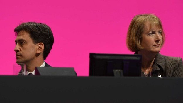 Ed Miliband and Harriet Harman at the 2014 Labour party conference