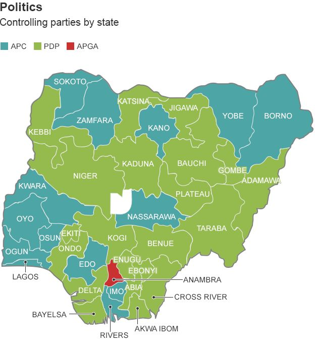 Political Parties By State Map.Nigeria Elections Mapping A Nation Divided Bbc News