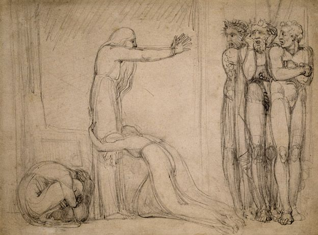 William Blake, Study for 'Tiriel Denouncing his Sons and Daughters', 1789, Pencil on paper, The Whitworth