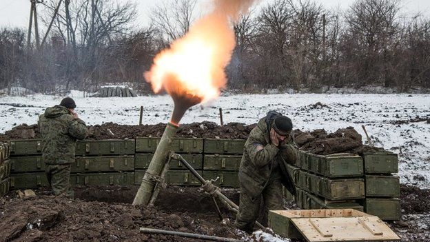 Rebels fire a mortar towards Ukrainian government troops north-east of Debaltseve - 11 February 2015