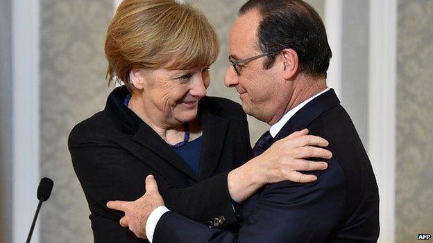 Angela Merkel and Francois Hollande after Minsk talks to secure a ceasefire in eastern Ukraine, 12 February 2015