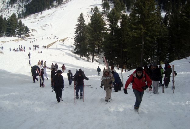 People on the ski slope in Swat