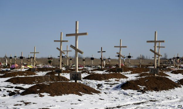 Unmarked graves at Mospino, near Donetsk, 12 February