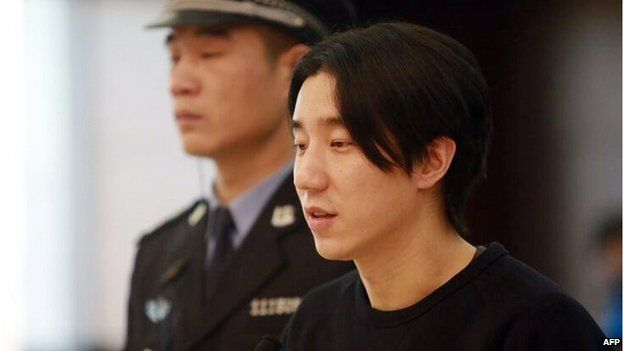 This handout photo taken on 9 January 2015 and released by the official weibo account of Beijing's Dongcheng District People's Court shows Jaycee Chan (R), son of kung fu star Jackie Chan, during his trial at the Dongcheng District People's Court in Beijing.