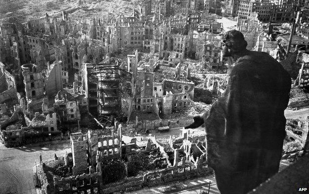 A photo taken from Dresden's town hall of the destroyed old town of the historic city after the allied bombings in February 1945
