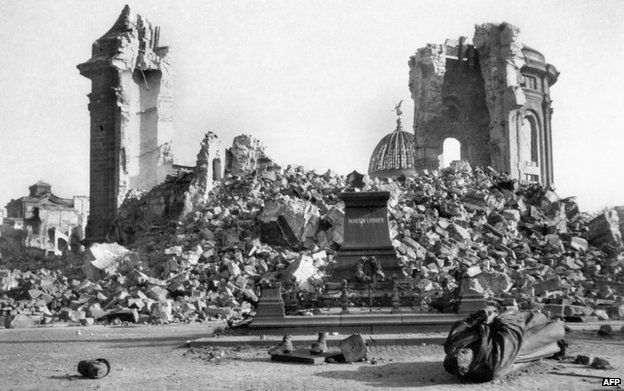 A photo taken in February 1945 shows the ruins of Dresden's Frauenkirche (Church of Our Lady) and the destroyed Martin-Luther-Memorial in the east German city of Dresden, following allied bombings