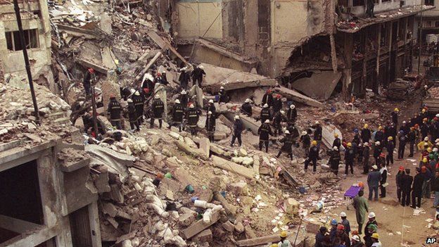 In this July 18, 1994 file photo, firefighters and rescue workers search through the rubble of the Argentine-Israeli Mutual Association community center, after a car bomb rocked the building in downtown Buenos Aires, Argentina