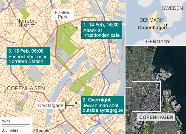 Denmark attacks large crowds mourn shooting victims bbc news map and timeline of attacks gumiabroncs Image collections