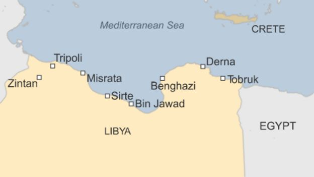 Egypt bombs is in libya after beheadings video bbc news libyas rival power bases map locator gumiabroncs Image collections