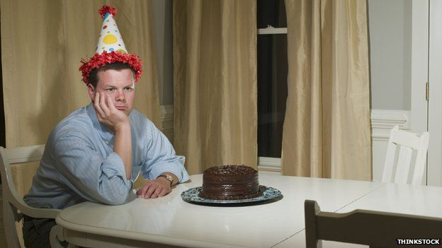Lonely an with cake