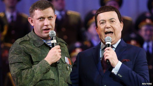 Iosif Kobzon (right) with separatist leader Alexander Zakharchenko, Oct 2014 - file pic