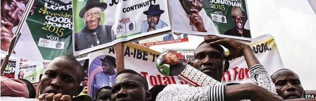 A photograph made available 07 February 2015 shows supporters of incumbent Nigerian president Goodluck Jonathan at a Peoples Democratic Party (PDP) election campaign rally in Yenagoa, Nigeria, 06 February 2015