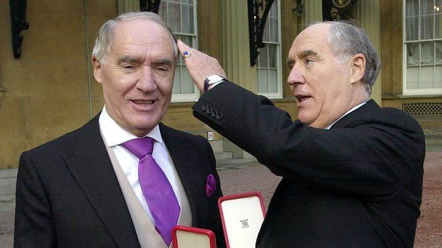 Sir David Barclay (left) and his twin brother Sir Frederick after receiving their knighthoods