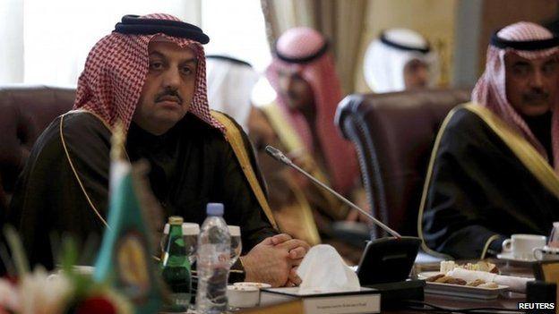 Qatar's Foreign Minister Khaled bin Mohammad Al Attiyah at a GCC meeting (January 2014)
