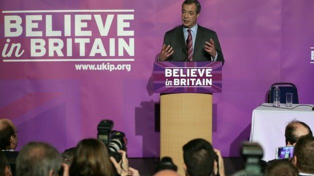 "Nigel Farage delivers his first major speech of UKIP""s 2015 general election 12/02/2015"