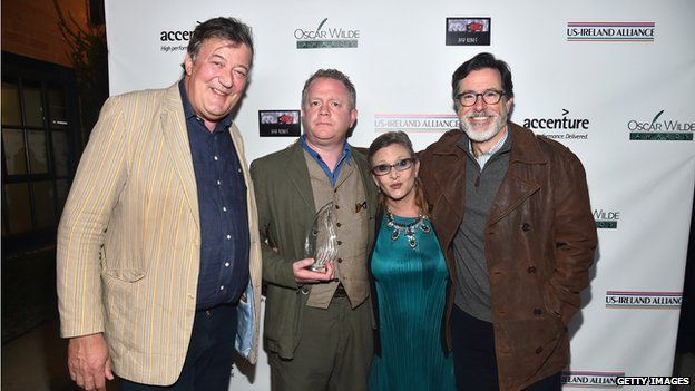 Stephen Fry, Colin Davidson, Carrie Fisher and Stephen Colbert
