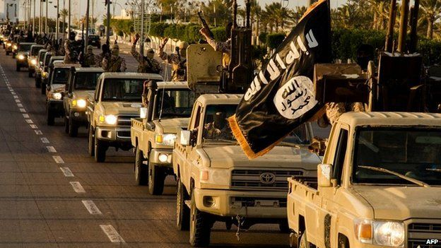 An image purported to show Islamic State militants in the Libyan town of Sirte - 18 February 2015