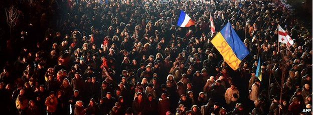 Thousands of people take part in a march during a memorial ceremony in Kiev - 20 February 2015