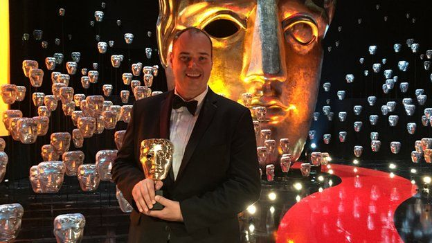 Sound mixer Ben Wilkins with his Bafta