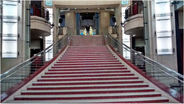 The steps at the end of the red carpet as the 2015 Oscars