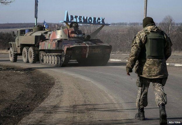 Ukrainian armour near Artemivsk, 22 February