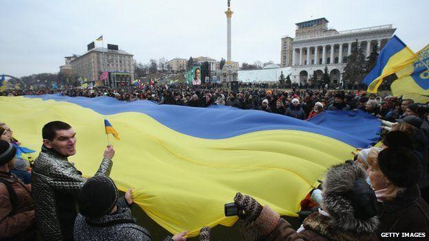 Giant Ukrainian flag at rally in Kiev - 22 February