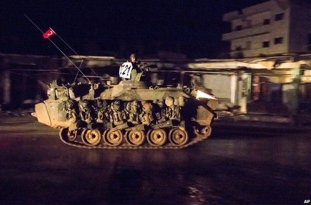 Turkish armour passes through Kobane, 21 February