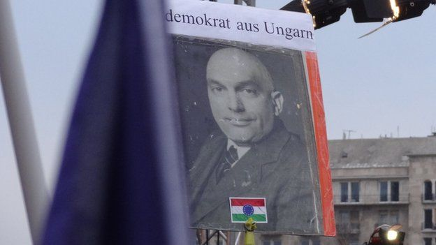 A poster of Viktor Orban mocked up as Hungarian Communist leader Matyas Rakosi