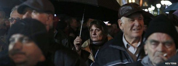 Pensioners at a rally in Athens, December 2014