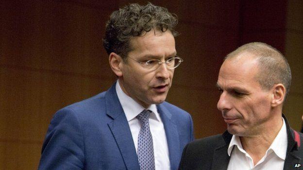 Eurogroup head Jeroen Dijsselbloem (L) with Greece's Yanis Varoufakis (20 Feb)