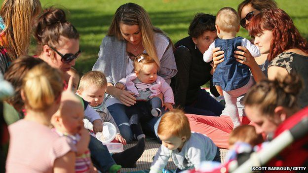Children play as a mothers group meets at a local park on May 13, 2014 in Melbourne, Australia.