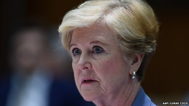 President of the Human Right Commission Prof. Gillian Triggs speaks during a Senate Estimates hearing at Parliament House in Canberra, Tuesday, Feb. 24, 2015.