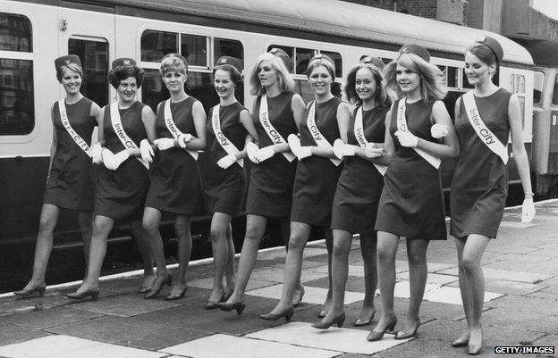 A group of 'Inter-City Girls' employed by British Rail to deal with passenger enquiries, in 1968