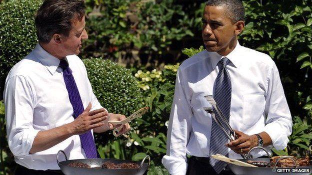 David Cameron and Barak Obama serving a BBQ at Downing Street