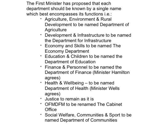 A document in which Peter Robinson suggested re-naming the Office of the First and Deputy First Minister as the Cabinet Office