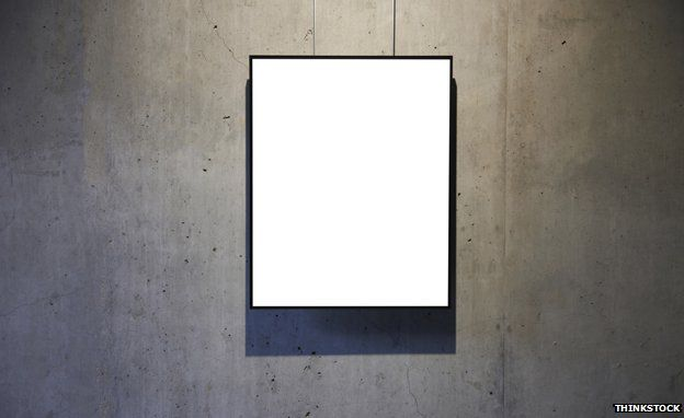 Blank canvas on gallery wall