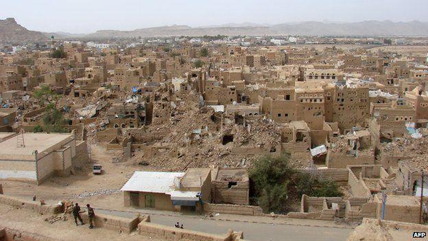 War-damaged city of Saada in March 2010