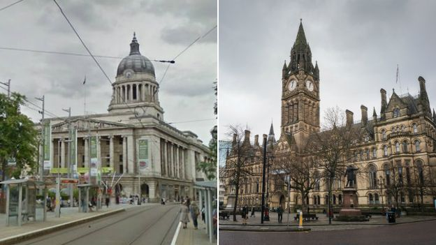 Nottingham and Manchester town halls