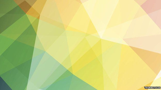 Geometric shapes in green, yellow and red