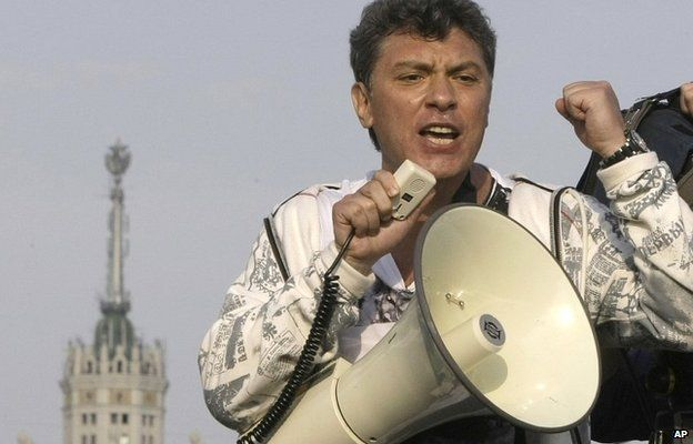 Boris Nemtsov uses a loud speaker during an opposition rally in Moscow, Russia - 6 May 2012